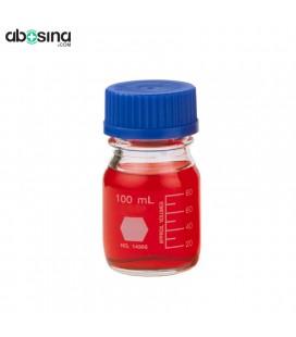 بطری در پیچ دار آبی آزمایشگاه